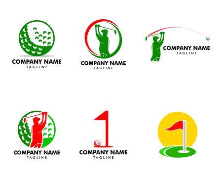 Set of Golf Club Logo Design Template Vector Illustration