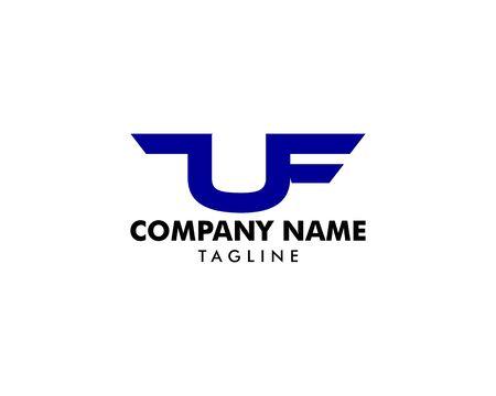 Initial Letter UF Logo Template Design Ilustracja