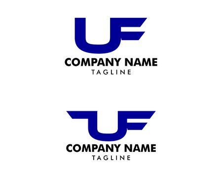 Set of Initial Letter UF Logo Template Design Ilustracja