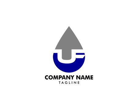 Oil and gas initial Letter UF Logo design