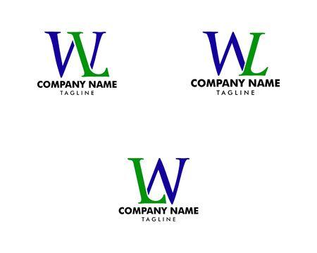 Set of Initial Letter WL Logo Template Design
