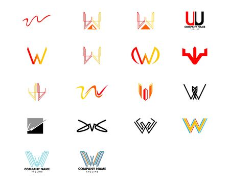 Set of Initial Letter W Logo Template Design