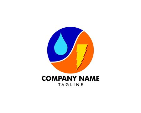 Lightning and water drop vector logo template concept illustration