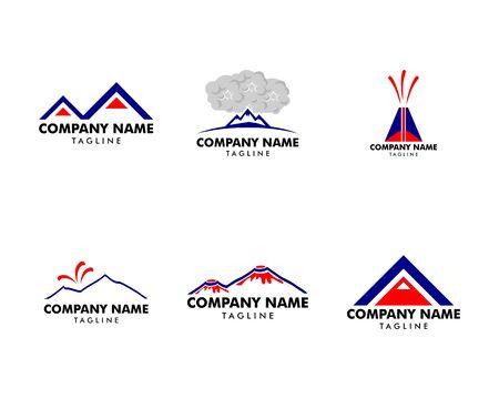 Set of Volcano mountain logo, Symbol and icon of volcano mountain Çizim