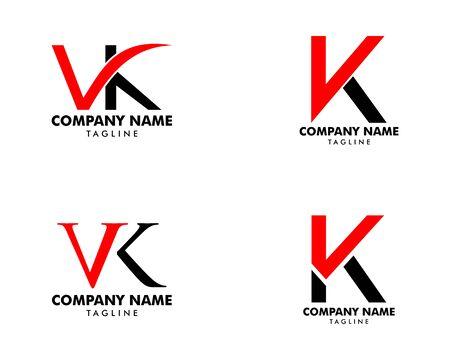 Set of Initial Letter VK Logo Template Design