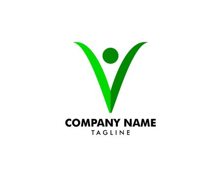 Initial Letter V People Logo Template