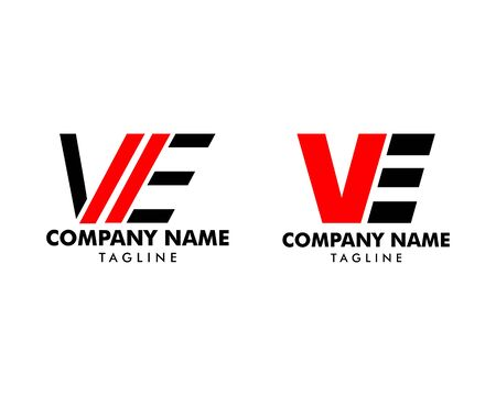Set of Initial Letter VE Logo Template Design Stock Illustratie