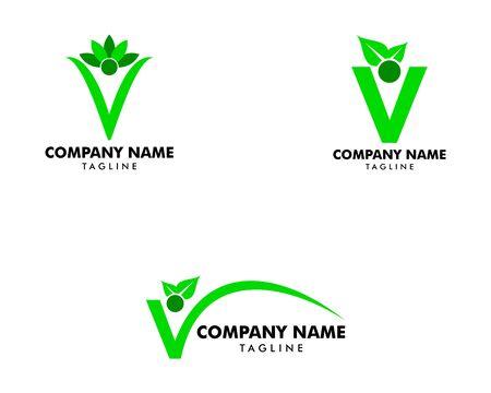 Set of People Letter V with Leaf Logo Design Template