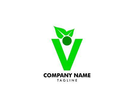 People Letter V with Leaf Logo Design Template