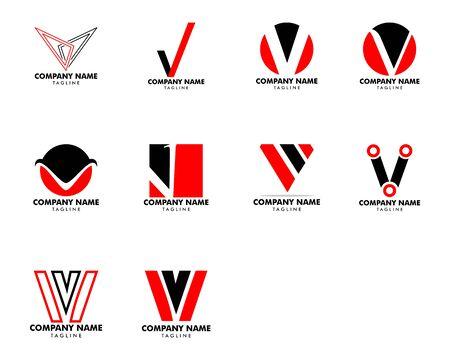 Set of Initial Letter V Logo Template Design Stock Illustratie