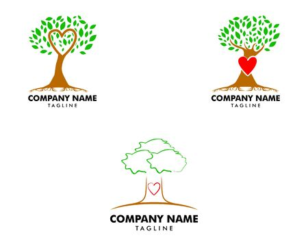 Set of Love Tree Logo Template Design