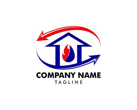 Heating and Air Conditioning House Logo Template Design