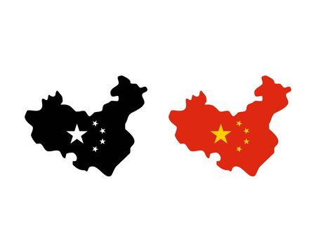 China, Asia Countries Map and Flag Icon Vector Logo Template Illustration Design
