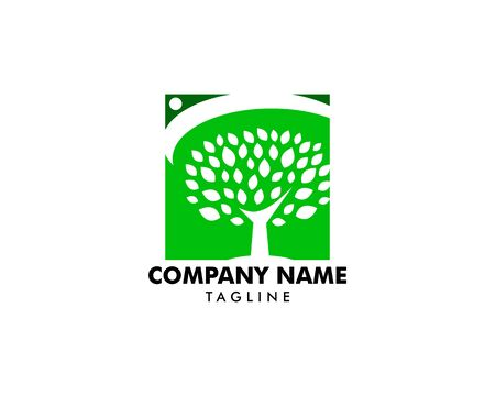 Tree with people logo template