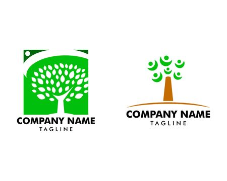 Set of Tree with people logo template Stock Illustratie