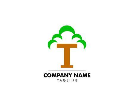 Initial Letter T Tree Logo Icon Vector Illustration Design Template Stock Illustratie
