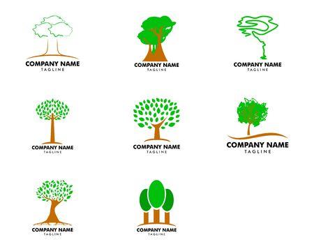 Set of Tree logo template vector icon illustration