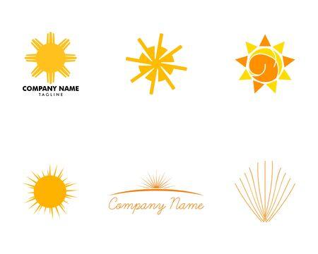 Set of Sun  Design on white Stock Illustratie
