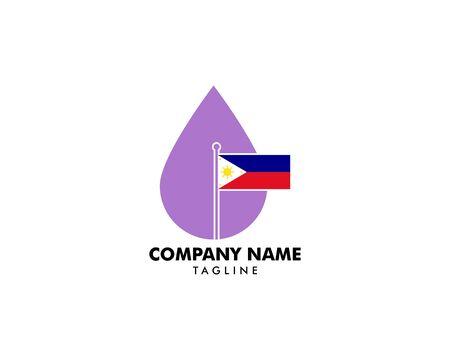 Lavender Essential Oil with Philippine Flag Logo Design Stock Illustratie