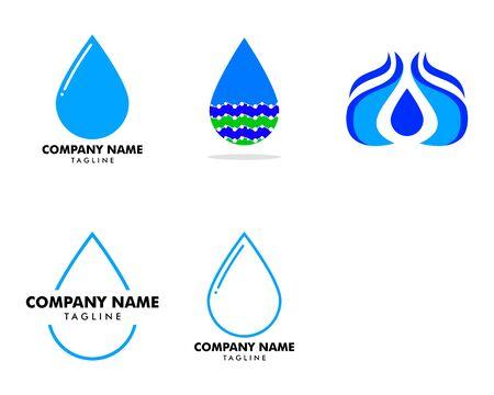 Set of Water drop  design on white Stock Illustratie