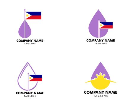 Set of Lavender Essential Oil with Philippine Flag Logo Design on white