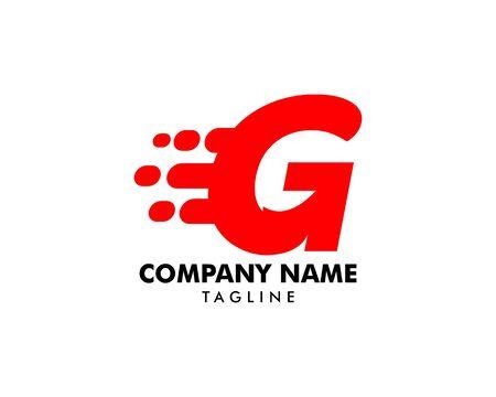 Motion Speed Line Letter G Design on white