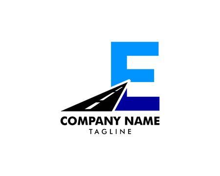 Road Way Letter E Icon on white Stock Illustratie