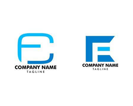 Set of Initial Letter CF Design on white