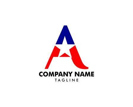 Letter A Star   Design on white Stock Illustratie