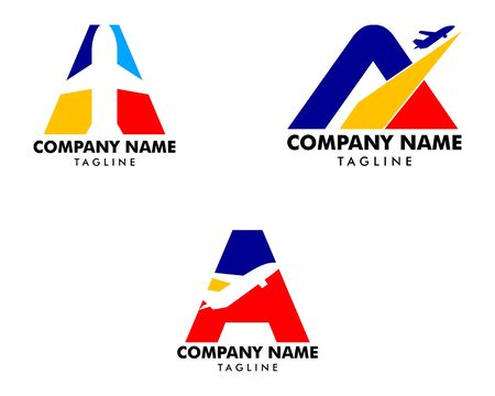Set of Initial Letter A Travel Logo Icon with Airplane