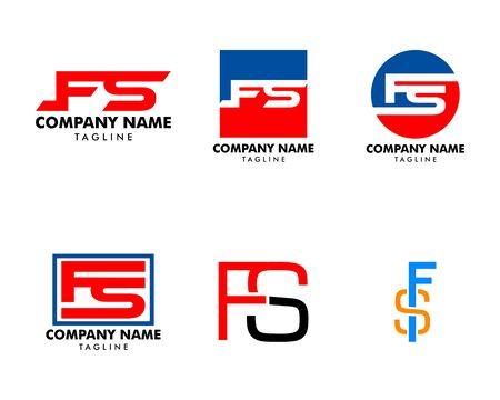 Set of Initial Letter FS Logo Template Design