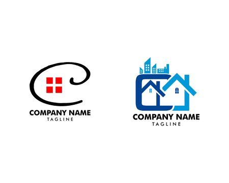 Set of Initial Letter C Building Logo Design Illustration, Initial Letter C Real Estate Logo Vector Ilustração
