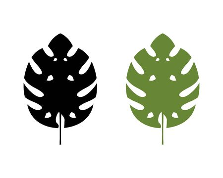 Monstera Deliciosa Leaf Icon Vector Logo Template Illustration Design Standard-Bild - 134856535