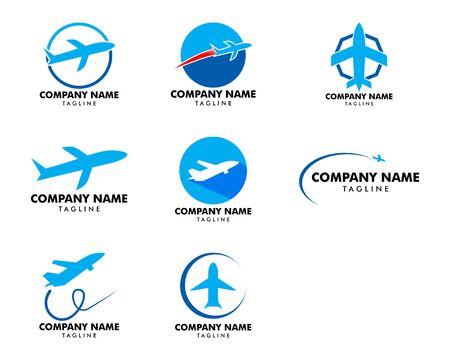 Ensemble de vecteur de conception de modèle de logo d'avion Logo