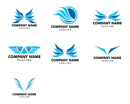 Set of Wing Logo Template Vector Icon Design Ilustracja