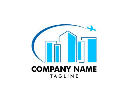 Building and plane logo icon vector