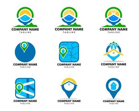 Set of House Locator Vector Logo Template