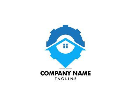 홈 서비스 로고 템플릿 디자인