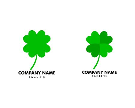 Set of Green Clover Leaf Logo Design Vector