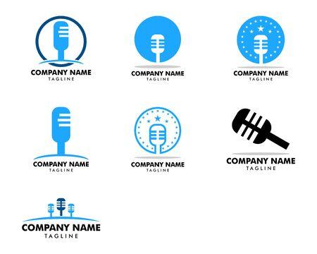 Set of Microphone logo icon, Podcast logo icon designs vector