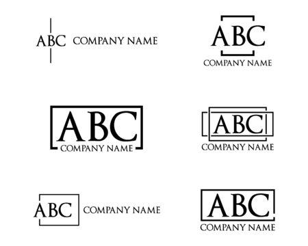 Set di disegni di lettere con logo semplici e minimalisti