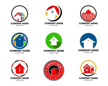 Set of House Circle Logo Template Vector Illustration Design Archivio Fotografico - 138420894