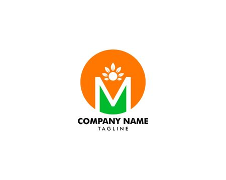 Initial Letter M Logo With People and Leaf Shape, Initial Letter M For Health Care Logo Template Archivio Fotografico - 138824141