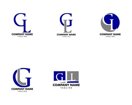 Set of Initial Letter GL Logo Template Design