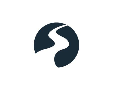 Flussweg, Creek Symbol Vektor Logo Template Illustration Design Logo