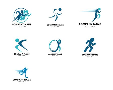 Set of Human running vector logo character