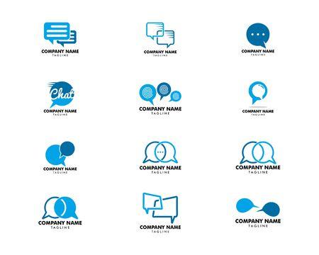 Set of Bubble Chat Concept Logo Design Template Archivio Fotografico - 142041878