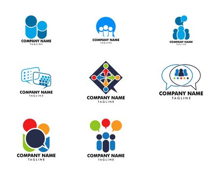 Set of Group People Chat Logo Design Template Archivio Fotografico - 142041881