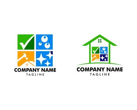 Set of House Repair & Cleaning Service Logo Design Archivio Fotografico - 142506816