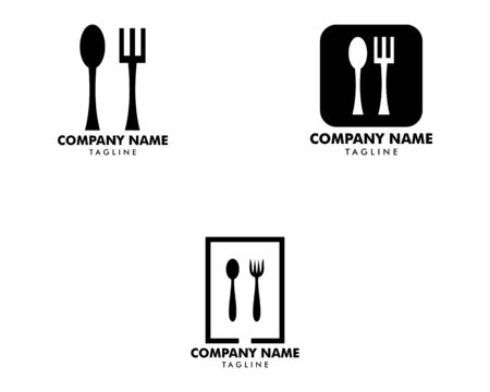 Set of Logo restaurant with cutlery, A spoon and fork vector illustration Archivio Fotografico - 142506924